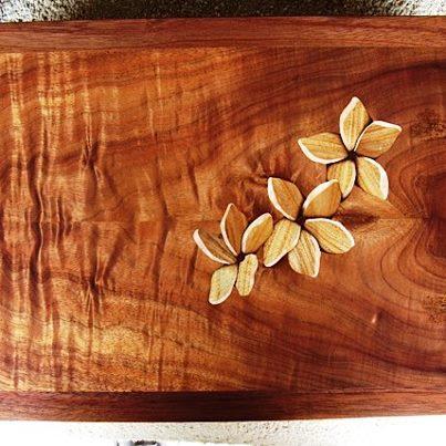 Koa wood jewelry box with carved plumeria frangipani Emmetts gift